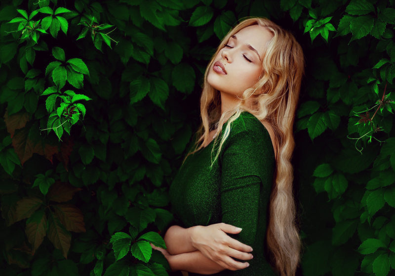 Practice Woman's Anahata Healing beauiful blonde woman in green dress | The Sublime Woman
