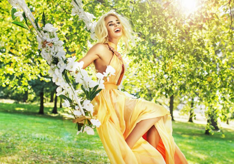 Practice Woman's Manipura Rebirth beautiful blonde woman in yellow dress   The Sublime Woman